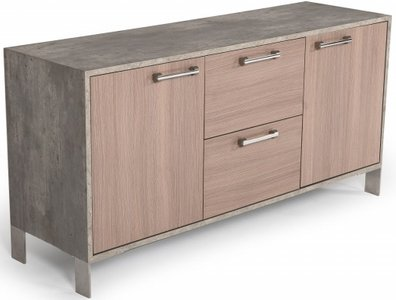 Nova Domus Boston Modern Office File Cabinet Brown Oak And Faux Concrete