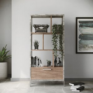 Nova Domus Boston Bookcase Faux Concrete And Brown Oak