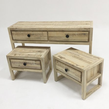 Modrest Mandy Console And End Table Set White Washed Acacia