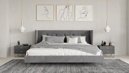 Modrest Bryan Modern Queen Bed Gray Velvet And Gold