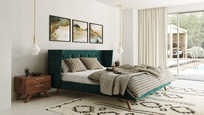 Modrest Durango Modern Queen Bed Green And Walnut