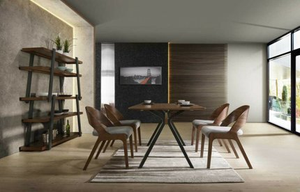 Runyon Modern Dining Set For 6 Walnut