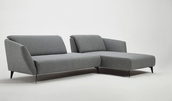 Divani Casa Hardin Right Extended Sectional Sofa Gray