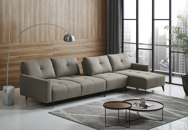 Divani Casa Kenton Right Sectional Sofa Gray