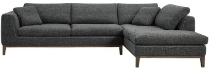 Divani Casa Hickman Right Sectional Sofa Dark Gray