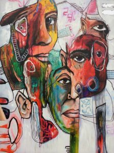 Modrest Faces Abstract Oil Painting Multicolor