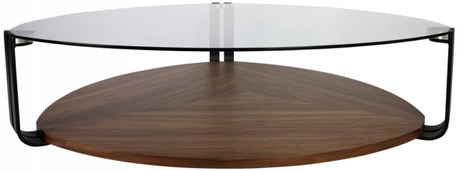 Viviana Coffee Table Clear & Walnut