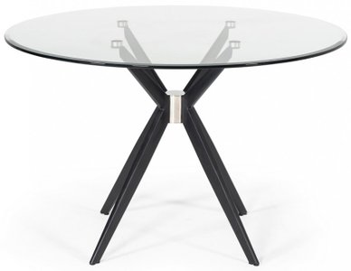 Modrest Dallas Modern Dining Table Clear And Black
