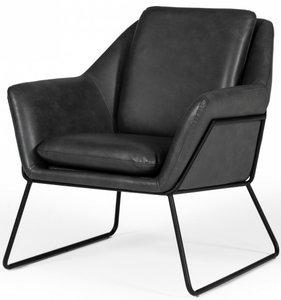 Modrest Jennifer Industrial Accent Chair Dark Gray