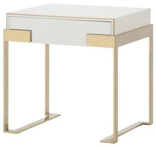 Modern Nightstand White And Champagne Gold