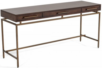Modrest Nathan Modern Desk Acacia And Brass