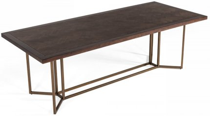 Modrest Nathan Modern Dining Table Acacia And Brass