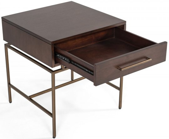Modrest Nathan Modern End Table Acacia And Brass