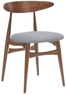 Modern Dining Chair Gray And Walnut (Set of 2)