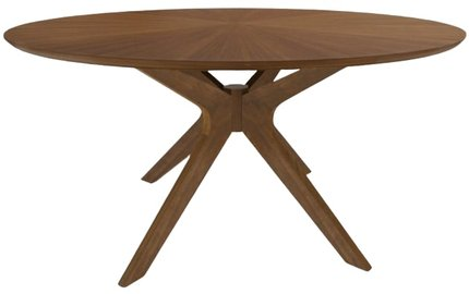 "Modern Large 75"" Round Dining Table Walnut"