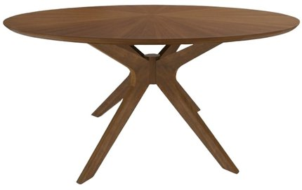 "Modern 59"" Round Dining Table Walnut"