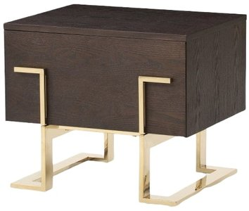 Modern Nightstand Smoked Ash And Gold