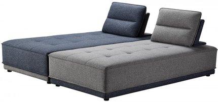 Divani Casa Glendale Modern Sectional Sofa Blue And Gray