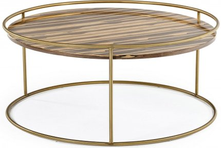 Gilcrest Coffee Table Brown & Brushed Gold