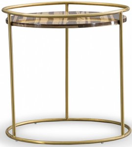 Gilcrest End Table Brown & Brushed Gold