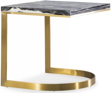 Greely End Table Black & Brushed Gold