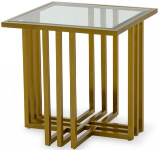 Kodiak End Table Clear & Brushed Gold