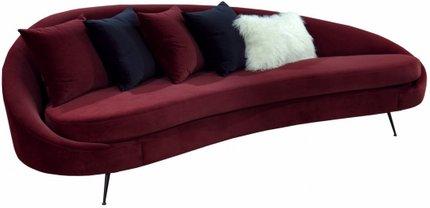 Divani Casa Saline Glam Sofa With Pillows Burgundy