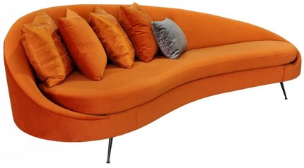 Divani Casa Saline Glam Sofa With Pillows Pumpkin