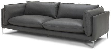 Divani Casa Harvest Modern Full Leather Sofa Gray