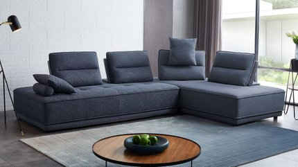 Divani Casa Glendale Sectional Sofa Blue