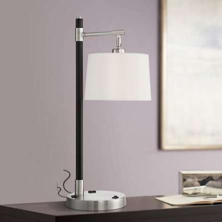 Possini Euro Lexis Desk Lamp with USB Port and Outlet Black