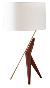 West Elm Caldas Table Lamp White And Walnut