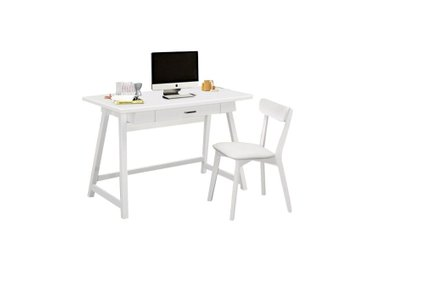 Casual Single Seater Desk And Chair Set White