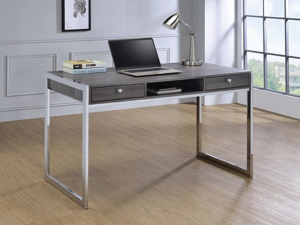Contemporary Writing Desk Weathered Gray & Chrome