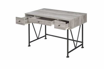 Guthrie Industrial Driftwood Writing Desk Gray