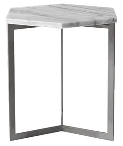 West Elm Hex Side Table White Marble And Raw Steel