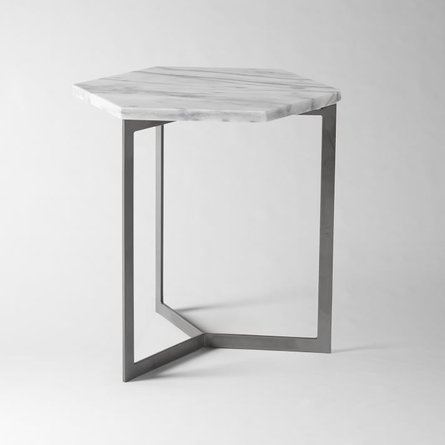Hex Side Table White Marble And Raw Steel