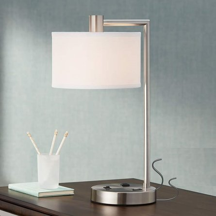 Colby Desk Lamp with Outlet and USB Port Silver