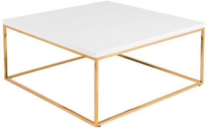 Teresa Square Coffee Table White & Gold