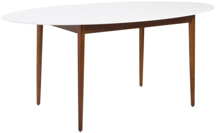 Manon Oval Dining Table Matte White & Dark Walnut