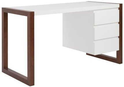Manon Desk Matte White & Dark Walnut
