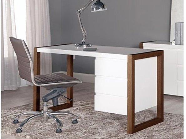 Manon Desk Matte White & Dark Walnut