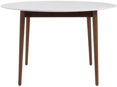 Manon Round Dining Table Matte White & Dark Walnut