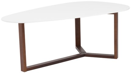 Morty Coffee Table Matte White & Dark Walnut