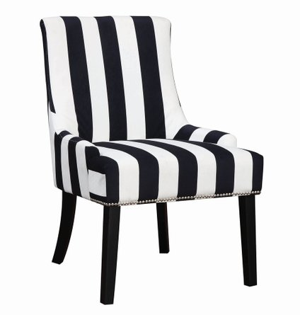Transitional Accent Chair Navy And White