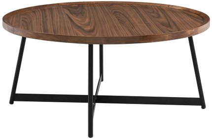 "Niklaus 35"" Round Coffee Table Walnut & Black"