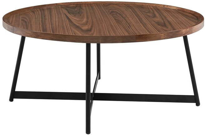 """Niklaus 35"""" Round Coffee Table Walnut & Black"""