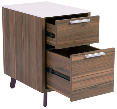 Hart 2 Drawer File Cabinet White And Walnut