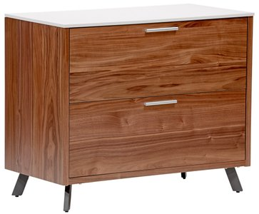 "Hugo 36"" File Cabinet White & Walnut"