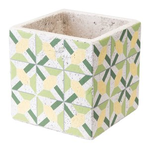 Cement Flower Planter Green And Yellow (Set of 4 Units)